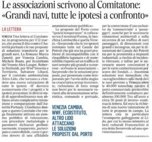 Il Gazzettino_Le associazioni scrivono al Comitatone